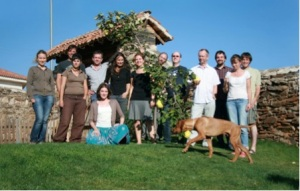 The workshop participants with our canine mascot, Karhu!