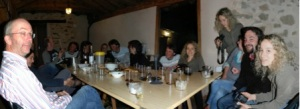 Kamil's photographic trickery captures the group enjoying an evening meal!